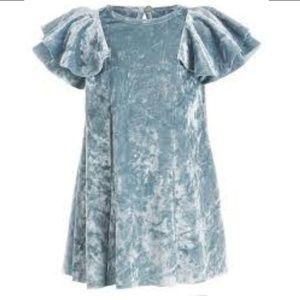 Baby Blue Crushed Velvet Flutter Sleeve Dress